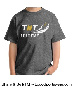 TNT Academy Youth Hanes Cotton Grey T-Shirt Design Zoom