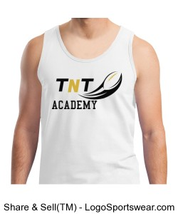 TNT Academy Mens Cotton White Tank Top Design Zoom