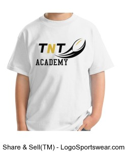 TNT Academy Youth Hanes Cotton White T-Shirt Design Zoom