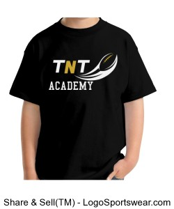 TNT Academy Youth Hanes Cotton Black T-Shirt Design Zoom